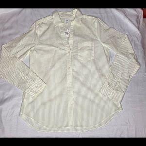 NWT Women's Gap Yellow Stripe long sleeve button